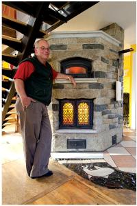 Tim Murphy and a Masonry Heater, photo courtesy of Home & Cabin magazine