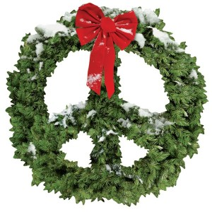 find cards like this at http://www.paperhouseproductions.com/peace-sign-wreath-christmas-card.html#.VHNIT_nF8pk