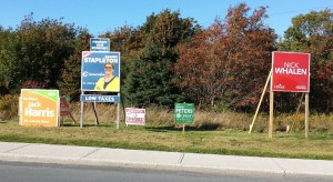 one of the few locations in St. John's east where five parties have signage.