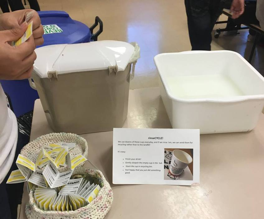 In Its Place system used: kitchen sinks, compostable baskets and informative cards and signage.